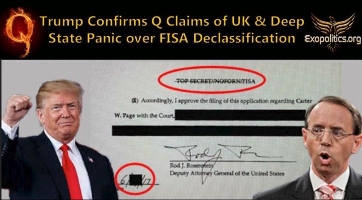Trump confirma afirmaciones de Q sobre el pánico en el Reino Unido y el Deep State sobre la desclasificación deFISA